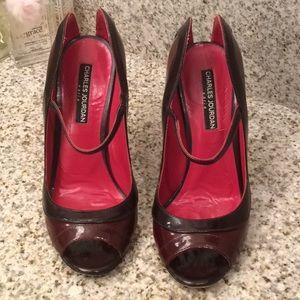 Charles Jourdan Leather Peeptoe Heels